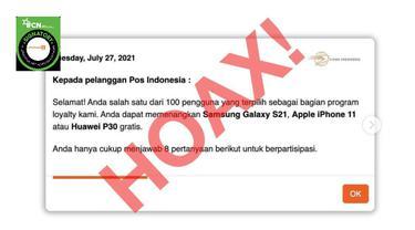 Cek Fakta Liputan6.com menelusuri informasi Pos Indonesia membagikan Smartphone dari iPhone hingga Samsung