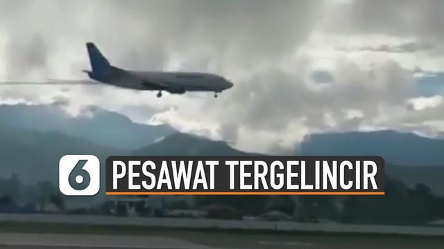 Sesaat sebelum mendarat, pesawat tampak miring dan keluar asap di sayap bagian kiri.