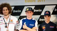 Momen konferensi pers MotoGP Portugal yang melibatkan: Marco Simoncelli, Jorge Lorenzo dan Dani Pedrosa. (Zimbio)