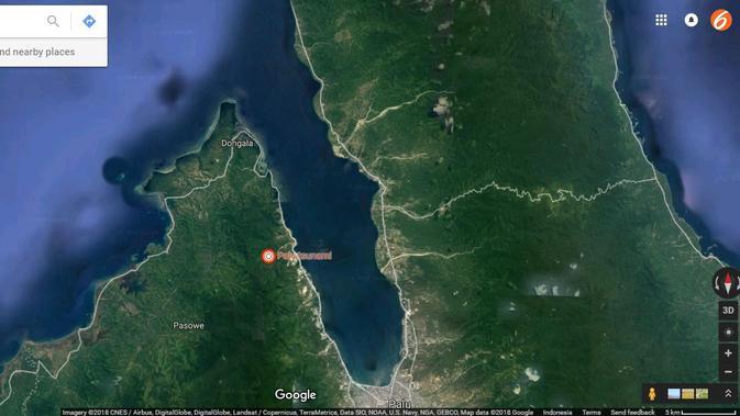 Peta tsunami Palu pada Jumat 28 September 2018 di Google Maps. (Google)