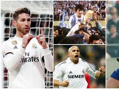 Bek tengah asal Spanyol, Sergio Ramos, mencetak gol ke-100 dalam karier profesionalnya saat Real Madrid mengalahkan Leganes 3-0 di Copa del Rey. Berikut deretan bek paling produktif mencetak gol di dunia. (Foto Kolase AP dan AFP)