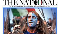 Pelatih Timnas Italia, Roberto Mancini, jadi headline koran The National dari Skotlandia jelang final Euro 2020. (dok. Tangkapan Layar/The National)