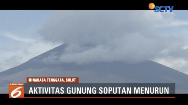 Aktivitas Gunung Soputan, Sulawesi Utara, mulai menunjukkan tanda-tanda penurunan.