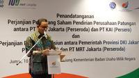 Gubernur DKI Jakarta, Anies Baswedan di Kantor Kementerian BUMN, Jumat (10/1/2020).