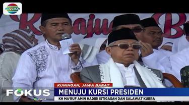 Di depan peserta istigasah tersebut, Ma'ruf juga memaparkan keberhasilan berbagai program dari pemerintahan Joko Widodo atau Jokowi.