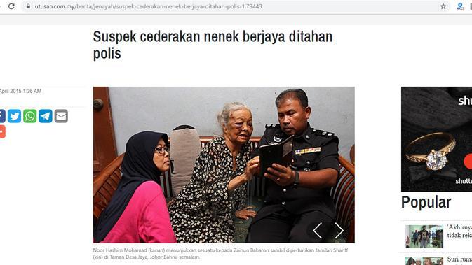 [Cek Fakta] Kisah Miris Nenek Jumiyem yang Babak Belur karena Mencuri 2 Jagung, Faktanya (Captured/Utusan Online)