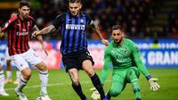 Mauro Icardi menjadi penentu kemenangan Inter Milan atas AC Milan (21/10/2018). (AFP/Marco Bertorello)