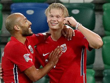 Erling Haaland Tampil Agresif, Norwegia Pesta Gol di UEFA Nations League