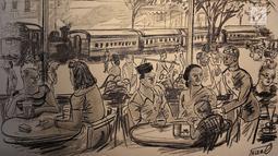"""Karya poster dipajang dalam pameran bertajuk """"Jagung Berbunga di Antara Bedil dan Sakura"""", Jakarta, Rabu (15/8). Pameran diadakan dalam rangka memperingati HUT ke-73 RI dan berlangsung hingga 15 September 2018. (Liputan6.com/Immanuel Antonius)"""