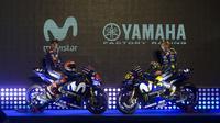 Pabrikan Jepang, Yamaha, memperkenalkan motor YZR-M1 untuk MotoGP 2018 di Matadero Madrid, Spanyol, Rabu (24/1/2018). (AP Photo/Paul White)