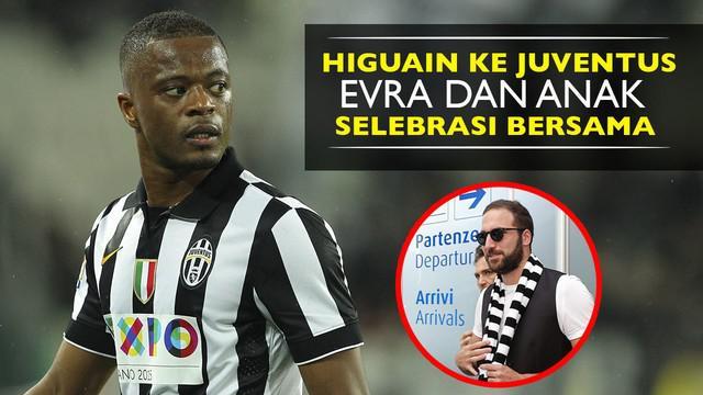Video selebrasi Patrice Evra bersama kedua anaknya untuk merayakan kedatangan Gonzalo Higuain resmi pindah ke Juventus.