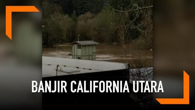 Hujan deras di California Utara picu banjir besar yang merendam ribuan rumah. Terjangan air berasal dari sungai yang meluap.