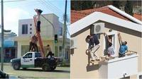 Cara kreatif pekerja atasi masalah ketinggian (Sumber: brightside)