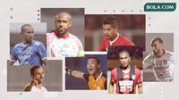 Boaz Solossa, Ian Kabes, Supardi Nasir, Bambang Pamungkas, Ilija Spasojevic, Paulo Sergio dan Yoo Jae-hoon. (Bola.com/Dody Iryawan)