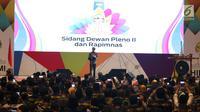 Presiden Joko Widodo atau Jokowi berbicara dalam Sidang Dewan Pleno II dan Rapimnas HIPMI di Tangerang, Banten, Rabu (7/3). Rapimnas ini dihadiri lebih dari 2.000 peserta dari 34 provinsi di Indonesia. (Liputan6.com/Angga Yuniar)