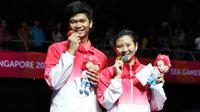 Ganda campuran Indonesia Praveen Jordan/Debby Susanto raih medali emas bulu tangkis perorangan SEA Games 2015 Singapura (Humas PP PBSI)