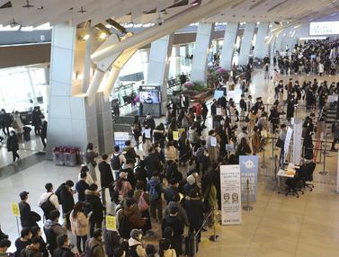 Arus Mudik Liburan Imlek Warga Korsel di Bandara Gimpo