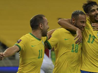Brasil kembali memetik 3 poin usai mengalahkan Peru 2-0 dalam laga Kualifikasi Piala Dunia 2022 Zona Conmebol di Pernambuco Arena, Brasil, Jumat (10/9/2021) pagi WIB. Bintang Brasil, Neymar menyumbang 1 gol dan 1 assist dalam laga tersebut. (Foto: AFP/Nelson Almeida)