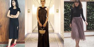 Mengenakan outfit berwarna hitam nampaknya menjadi andalan setiap wanita untuk membuat tubuhnya menjadi lebih ramping dan elegan. Seperti halnya para selebriti cantik ini yang tampak lebih seksi dengan outfit hitamnya. (Instagram)