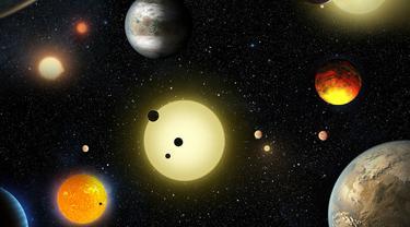 Ilustrasi planet-planet yang ditemukan oleh Teleskop Kepler