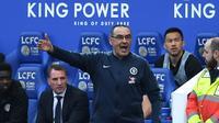 Manajer Chelsea, Maurizio Sarri, puas bisa mengantarkan timnya kembali ke Liga Champions musim depan setelah finis di peringkat ketiga klasemen akhir Premier League 2018-2019. (AFP/Daniel LEAL-OLIVAS)