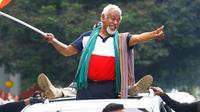 Xanana Gusmao saat tiba di Dili usai menjalani perundingan antara Timor Leste dengan Australia terkait kesepakatan garis perbatasan maritim (11/3) (AP PHOTO/Valentino Darriel)