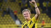 1. Erling Braut Haaland (6 gol) - Penyerang Borussia Dortmund ini telah mencetak enam gol bersama Borussia Dortmund di kompetisi Liga Champions. Haaland menjadi pemain pertama yang telah mencetak 6 gol di matchday 4 Liga Champions musim ini. (AFP/Ina Fassbender)