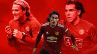 Manchester United - Diego Forlan, Edinson Cavani, Carlos Tevez (Bola.com/Adreanus Titus)