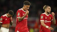 Jadon Sancho. Sebagai pembelian termahal Manchester United musim ini dengan nilai 85 juta euro, belum satu pun gol dicetaknya. Ia telah dimainkan dalam 7 laga di semua ajang, teranyar adalah saat menjadi starter kontra West Ham di ajang Piala Liga yang berujung kekalahan 0-1. (AP/Dave Thompson)