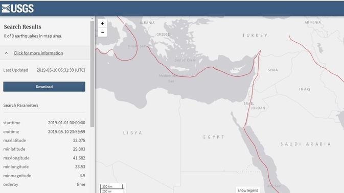 Tidak ada gempa bermagnitudo lebih dari 4,5 di Israel sejak 1 Januari 2019 (Sumber: Screen Grab USGS)
