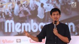 CEO Brodo, Yukka Harlanda memberikan materi tentang entrepreneurship selama acara EGTC 2018 di Graha Sanusi Hardjadinata, Universitas Padjajdaran, Bandung, Rabu (5/12). Yukka Harlanda berbagi inspirasi membuka bisnis. (Liputan6.com/Helmi Fithriansyah)