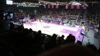 Istora Senayan telah berubah menjadi tempat menyelenggarakan venue basket 5x5, yang sebelumnya diperuntukan untuk bulutangkis Asian Games 2018 (Bola.com/Muhammad Ivan Rida)