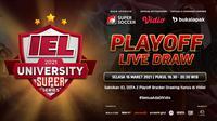 Drawing kualifikasi playoff IEL University Super Series 2021, Selasa (16/3/2021) pukul 16.30 WIB dapat disaksikan melalui platform Vidio, laman Bola.com, dan Bola.net. (Dok. Vidio)