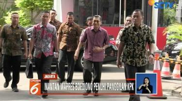 Mantan Wakil Presiden Boediono mendatangi gedung KPK. Kehadiran Mantan Gubernur Bank Indonesia itu diduga terkait dengan kasus Bank Century.