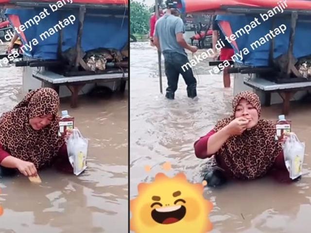 Viral Aksi Ibu-ibu Makan di Tengah Banjir, Jadi Sorotan - Hot Liputan6.com