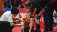 Tunggal Spanyol, Carolina Marin, harus mundur dari Indonesia Masters 2019 karena mengalami cedera ketika menghadapi Saina Nehwal. (AFP/Adek Berry)