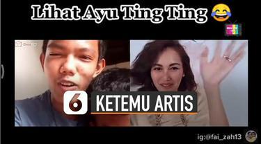 Ada-ada saja reaksi pemuda ini ketika tidak sengaja bertemu Ayu Ting-Ting di aplikasi.