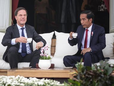 Presiden Joko Widodo (Jokowi) dan PM Belanda Mark Rutte melakukan pertemuan sambil minum teh bersama di beranda belakang Istana Merdeka, Jakarta, Rabu (23/11). Jokowi dan PM Belanda melakukan pembicaraan khusus empat mata. (Liputan6.com/Faizal Fanani)
