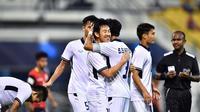 Timnas Thailand U-22 saat merayakan gol tunggal ke gawang Timor Leste di penyisihan Grup B SEA Games 2017, Kamis (17/8/2917). (Bola.com/Dok. FA Thailand)