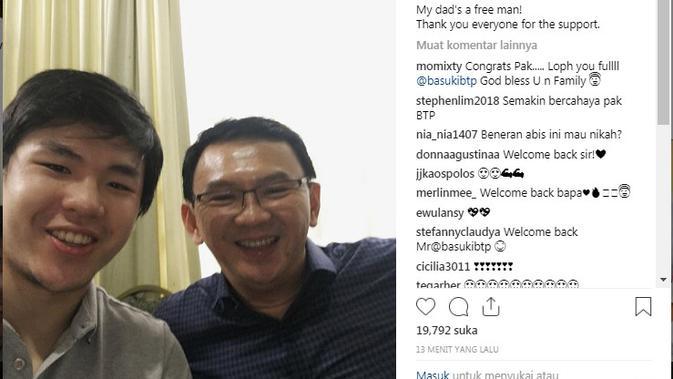 Putra Ahok Nicholas Sean mengunggah foto dirinya dengan sang ayah, saat ayahnya bebas dari Mako Brimob. (Foto: Instagram @nachoseann)