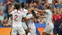Timnas Inggis menang 3-0 atas Norwegia pada laga perempat final Piala Dunia Wanita 2019, di Stade Oceane, Le Havre, Kamis (27/6/2019). (AFP/LOIC VENANCE)