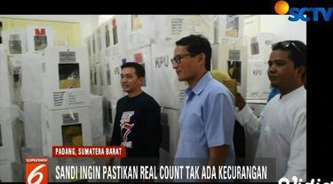 Didampingi Wakil Gubenur Sumatera Barat Nasrul Abit, Sandi mendatangi lokasi penghitungan C1 di PPK Kecamatan Koto Tangah dan Kecamatan Kuranji.