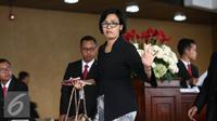 Menteri Keuangan Sri Mulyani saat menghadiri sidang tahunan MPR RI di ruang rapat paripurna 1 Gedung Nusantara, Jakarta, Selasa (16/8). Presiden Jokowi berpidato kenegaraan menyampaikan tentang pencapaian kinerja pemerintah. (Liputan6.com/Faizal Fanani)