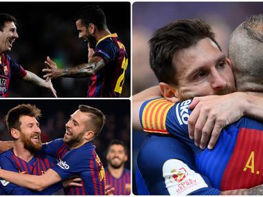 Lionel Messi menjadi pemain dengan koleksi Ballon D'Or terbanyak sepanjang sejarah. Langkah panjang Messi meraih berbagai prestasi di Barcelona tak lepas dari rekan-rekan setimnya selama di Camp Nou. Berikut 5 rekan setim terbaik Lionel Messi di Barcelona.(Kolase foto AFP)