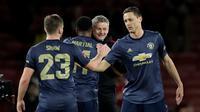 Manajer Manchester United, Ole Gunnar Solskjaer, berhasil membawa timnya meraih delapan kemenangan beruntun di seluruh ajang. (AP Photo/Matt Dunham)