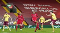 Liverpool menelan kekalahan 0-1 dari Burnley pada laga pekan tunda pekan ke-18 Premier League di Stadion Anfield, Jumat (22/1/2021) dini hari WIB. (Jon Super/POOL/AFP)