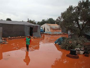 Menengok Kamp Pengungsi Suriah yang Kebanjiran