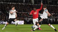 Penyerang Manchester United, Odion Ighalo, berhasil mencetak dua gol sekaligus membantu timnya menang 3-0 atas Derby County pada laga babak kelima Piala FA, di Pride Park Stadium, Kamis (5/3/2020) malam waktu setempat. (AFP/Oli Scarff)