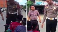 Polisi berhentikan tiga bocah yang kendarai satu motor kecil (Instagram/makassar_iinfo)