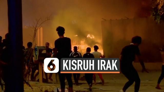 Kericuhan terjadi di sekitar lingkungan kantor konsulat Iran di kota Karbala, Irak. Demonstran bahkan sempat melempar kantor dengan batu dan material terbakar.